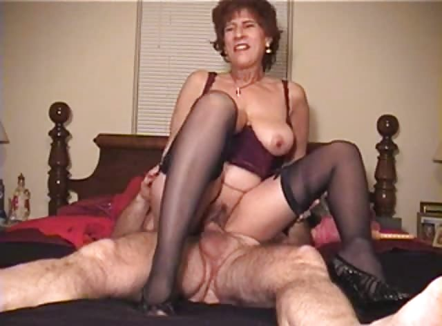 Old Woman Rides Younger Cock