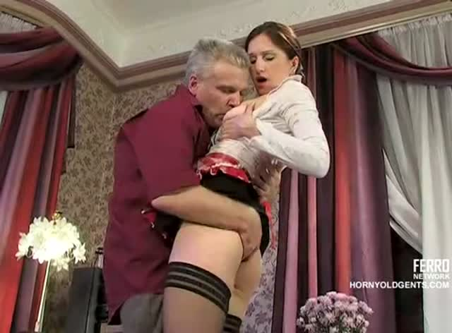 Russian Maid Likes Old Cock