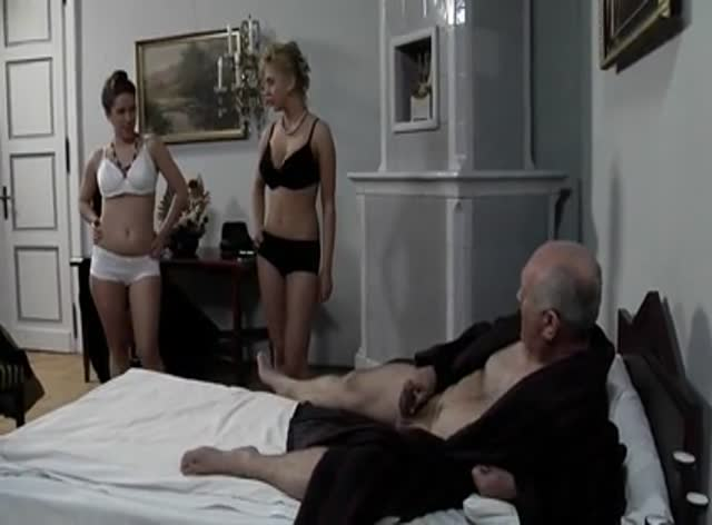 Lucky Old Man Bangs Two Sexy Chicks
