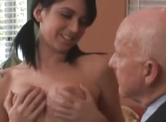 Lucky Grandpa fucks Super Sexy Brunette Teen