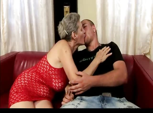 Horny Granny Seduces Young Man