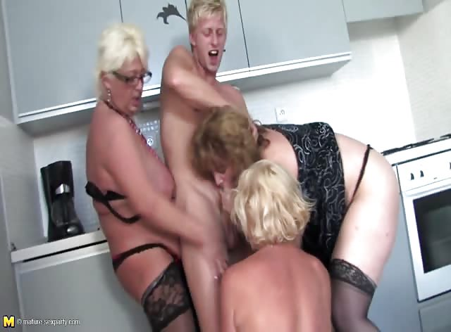 Horny Mature Ladies Fucking Young Guy The Kitchen