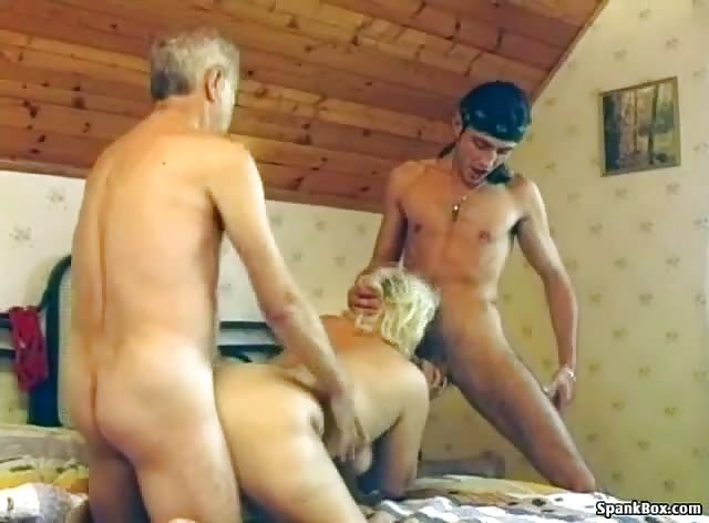 Naughty Granny In Threesome Sex