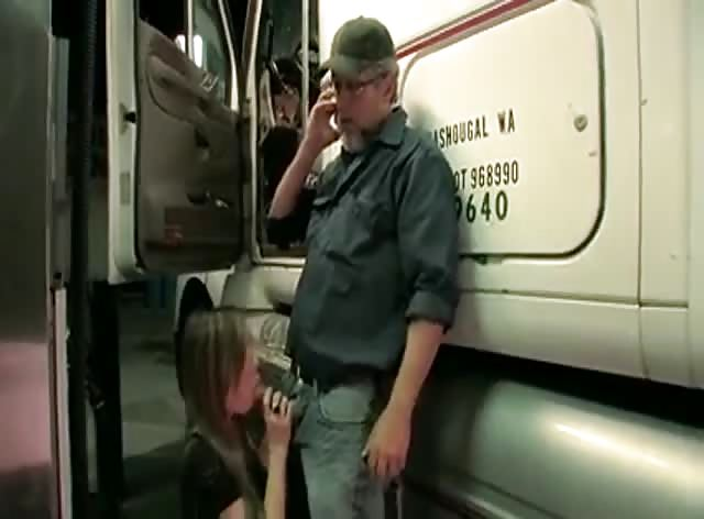 Dirty Trucker Enjoys Nice Blowjob by Lovely Chick