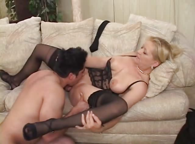 Aggressive Blonde MILF In Stockings Love College Stallions
