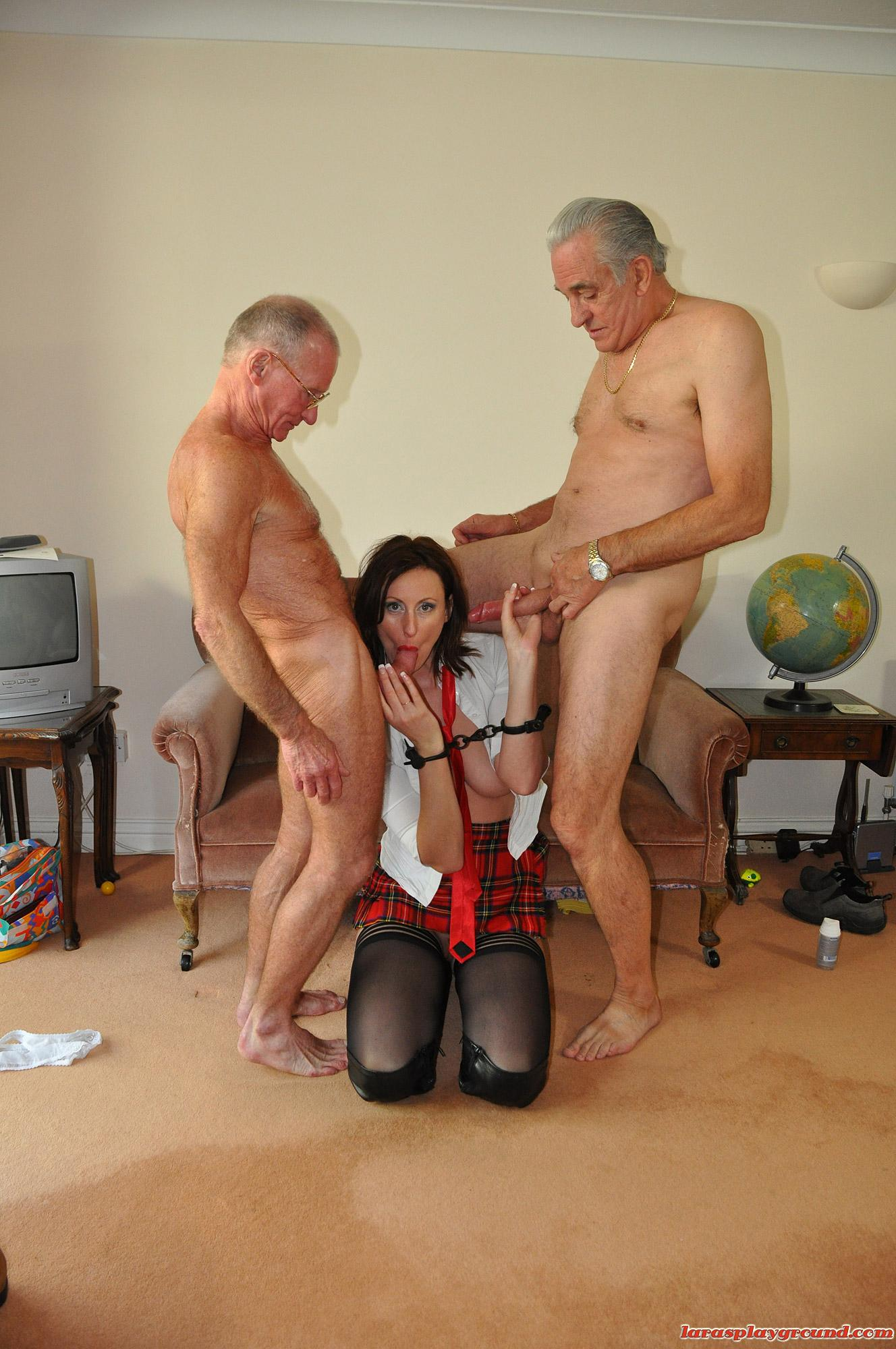 Horny grandpa stuffing babe in school uniform (9/15)