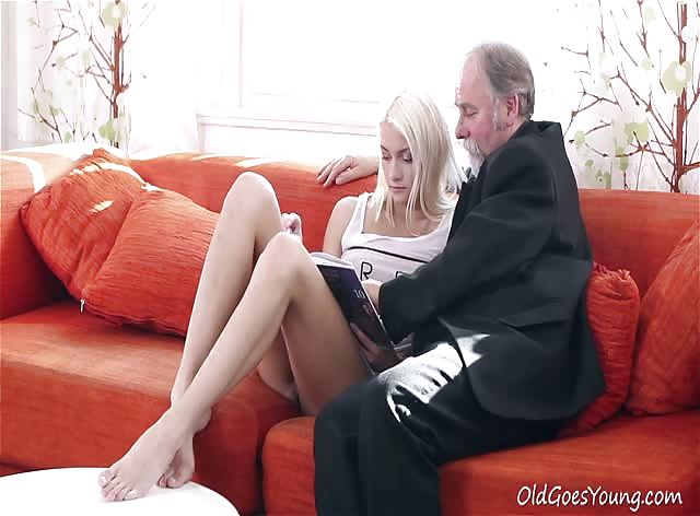 Blonde Babe Seduced by Horny Old Dude