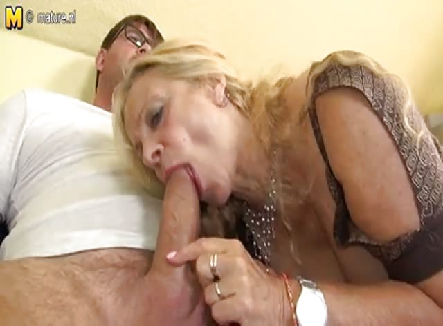Horny German Granny Gets Naked and Sucks Cock