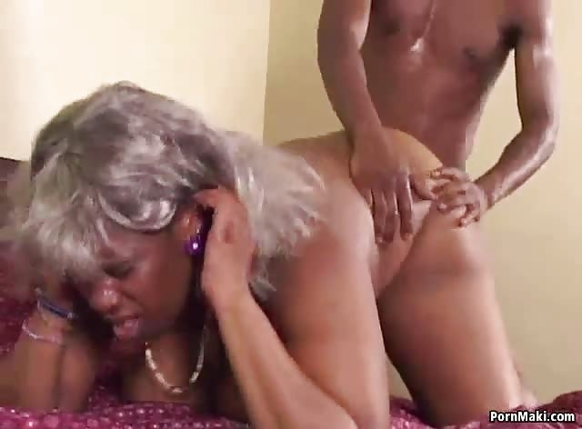 Chubby Ebony Granny Takes Hard Young Dick