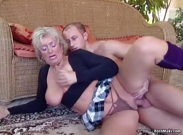 Busty Blonde Lady Enjoys Young Dick