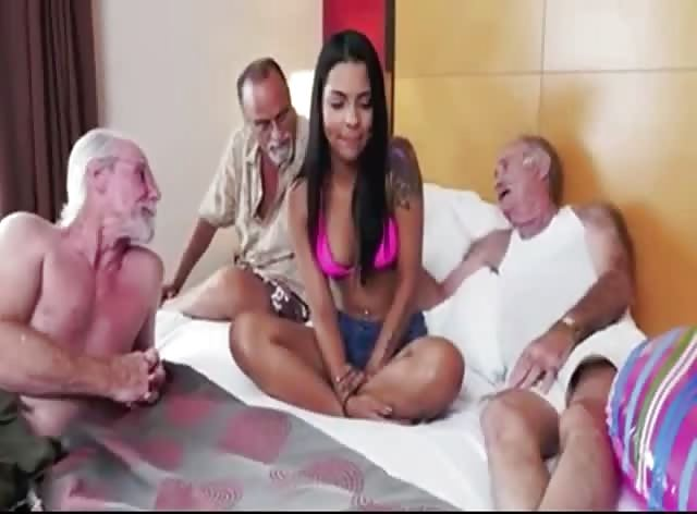 Gorgeous Teen Brunette Fucked by 3 Horny Grandpas