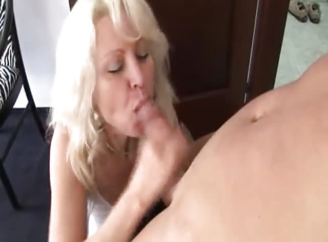 Older Blonde Lady Having Great Time with Younger Dick