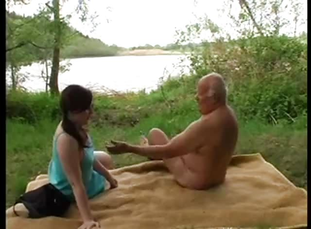 Forest Fuck for a Grandpa and His Young GF