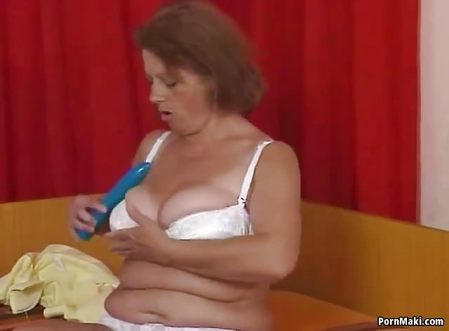 Horny Granny Plays with Dildo Then Gets Fucked Hard