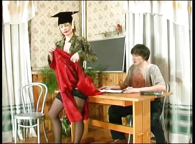 Sexy Mature Russian Teacher Seduces Innocent Guy