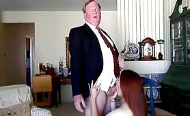 Old Boss Gets Nice Cock and Balls Licking by Redhead Teen