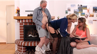 Filthy Stepdad Fucks Mother and Daughter Together