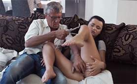 Bored Teen Babe Gets Horny and Wet in the Front of Boyfriend's Dad