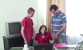 Granny Forced to Suck Two College Cocks at the Same Time