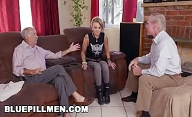 Petite Teen Fucks Two Old Horny Men For Concert Tickets
