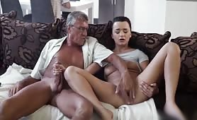 Fresh Teen Brunette Fucking Her Boyfriends Dad In The Living Room